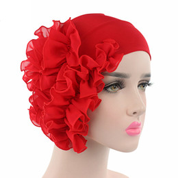 Chinese  Women Elastic Hair bands Headwraps Colorful Chiffon Flower Hairbands Head Covering Headbands for Wedding Hair Accessories manufacturers