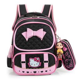 Hello Kitty School Bags For Girls Cute Waterproof backpacks Children  Schoolbags Kids Bookbags Suit satchel mochila escolar Y18100705 b252b28247a2e