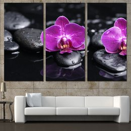 24c7e8ccd44c4c 2018 purple wall canvas 3 Panels Canvas Art Flower Purple Orchid Stone Home  Decor Wall Art