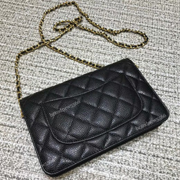 Gold mini baG online shopping - Excellent Quality Women Classic Quilted Caviar Woc Chain Bag Female Genuine Leather Clutches Cross body Bags Women s Shoulder Mini Flap Bag