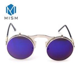 $enCountryForm.capitalKeyWord NZ - MISM Punk Fashion Style Unisex Sunglasses Men Womens Metal Wrap Eyeglasses Round Flip Cover Shades Designer Driver Sun glasses