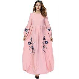 8f877e50ff Women lantern sleeve O Neck Pink flower embroidery elegant ladies casual  High waist plus size 4XL party maxi dress muslim abaya