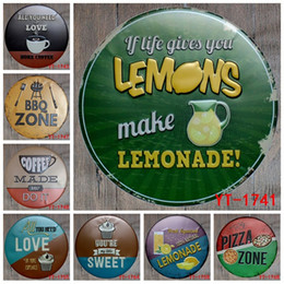 pizza signs NZ - 30X30CM  round plates antique retro metal tin signs BBQ pizza lemonade love sweet Iron painting poster vintage home wall plaque Y18102409