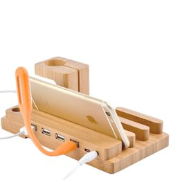 Wholesale Bamboo Wood Phone Stand USB Ports Charging Dock Station For Apple Watch Ipad Universal Mobile Cell phone Holder Wooden Phone Desktop Bracket