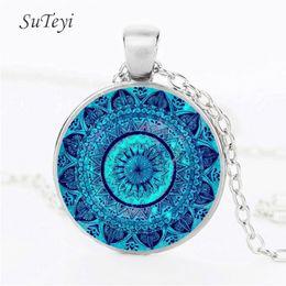 Wholesale Mandala Pendant NZ - SUTEYI Charms Mandala Statement Necklace Glass cabochon Necklaces & Pendants Zen Yoga Spirital Jewellery Lucky Amulet