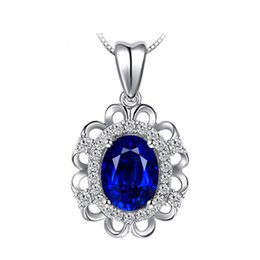 Chinese  European and American cross-border luxury royal sapphire pendant female 18K gold diamond crystal pendant clavicle genuine manufacturers