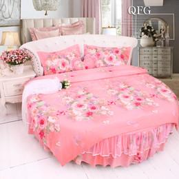 $enCountryForm.capitalKeyWord Canada - Round corner pink lace bedding sets Super KING Size 8 9 feet Duvet cover Round bedskirt ruffle wedding Floral Cotton bedding freeshipping