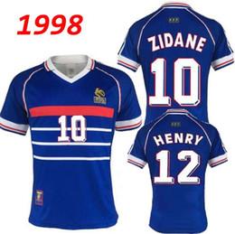 17562a54e 1998 FRANCE RETRO VINTAGE soccer jerseys ZIDANE MBAPPE GRIEZMANN HENRY  MAILLOT DE FOOT HOME AWAY uniforms Football Jerseys shirt