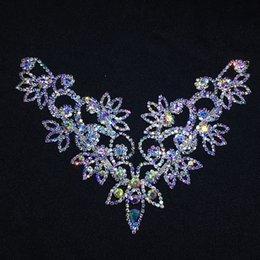 diy stone sew clothe 2019 - Latest Diy Ab Crystal Rhinestone Necklace For The Princess Dress Wedding Dress Skirt Flashing Hand Sewing Clothing Acces