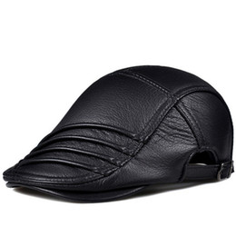 Discount wrinkle hat - RY914 Winter Men Genuine Leather Wrinkle Beret Hat Male Korean Style Thin Boina Dermal Deerskin Casual Idle Duckbill Cap