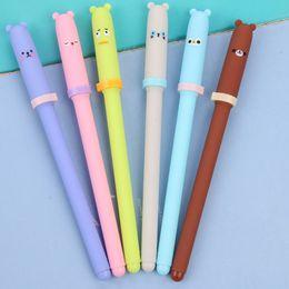 $enCountryForm.capitalKeyWord Australia - 0.38mm Cute Kawaii Plastic Gel Pen Cartoon Bear Canetas Neutral Pens For Writing Kids Gift School Supplies Korean Stationery