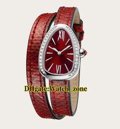27 мм Serpenti 102780 Красный Циферблат Швейцарские Кварцевые женские Часы Siver Чехол с Бриллиантовой Рамкой Красный Кожаный Ремешок Леди Часы Высокого Качества на Распродаже