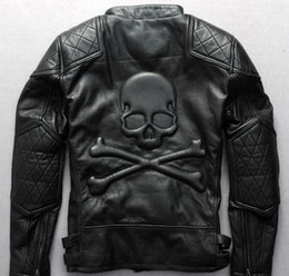 cross zipper jacket NZ - cross country locomotive leather jacket Oblique zipper Lapel neck men flight genuine leather jackets with Stamp skull head