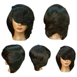 Black women wigs Bangs online shopping - Short Side Bang Straight Flip Feathered Bob Synthetic Wig Natural Black Wigs Women Natural Short Straight Synthetic Wigs For Women