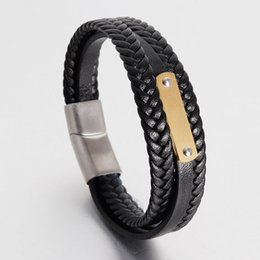 Silver Clasped Leather Bracelets NZ - Leather Bracelet for Man Triple Layer's Weaving Gold Silver Plated Stainless Steel Clasp Sports Energy Bracelet