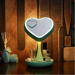 makeup stands 2019 - 180 Degrees Rotation Makeup Mirror Electric 7 Colors Touch Screen Rechargeable Mirror Lighted Cosmetic Mirror Desk Stand