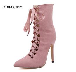 0402ce5050cd Envío gratis real pic pink albaricoque negro gamuza punta estrecha cordones  de las mujeres de la señora sexy venta caliente corto arranque de moda en  oferta ...