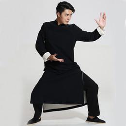 Chinese Robe Men NZ - Black Chinese Men Crosstalk Sketch Storytelling Performance Clothing Long Cotton Dress Robe Gown Two Side Kung Fu Tai Chi Tops