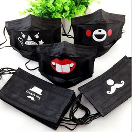 Wholesale Cute Pattern Black Disposable Face Mask Non Woven Earloop Anti Dust Flu Cartoon Respirator Outdoor Mouth Mask R3