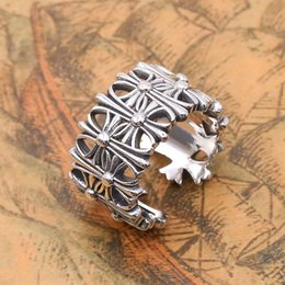 sterling silver cross rings Australia - Personalized Brand new 925 sterling silver jewelry American Europe antique silver hand-made designer thick rings crosses open rings gifts