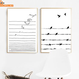 Art Canvas Prints Australia - COLORFULBOY Bird Line Wall Art Canvas Painting Black White Modern Minimalist Posters And Prints Wall Pictures For Living Room