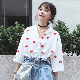 Shirt Korean Designs Canada - Korean Vintage Pearl Buttons Loose Casual Female Shirts 2018 Summer Fashion Design Red Heart Funny Graphic Women Elegant Blouse