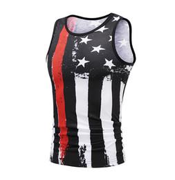 $enCountryForm.capitalKeyWord UK - Mens Stars Stripes Printed Fitness Gym Tank Tops Aerobics Clothing Male Sports Workout Sleeveless Body-hugging Vests Free Shipping