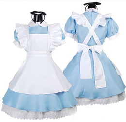 Sexy Halloween Costume Japanese Best Selling Fancy Girls Alice In Wonderland  Fantasy Blue Light Tone Lolita Maid Outfit Cosplay Fancy Dress