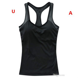Discount moisture wicking t shirts wholesale - wholesale-Sports T Shirts Women Summer Casual T-shirt Letters Printed Tank Top Sexy Girls Sports Camisoles Quicky Dry Ru