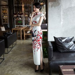 Wholesale long dresses china resale online - Priting Red Flower Cheongsam White Long Qipao Women Chinese Traditional Dress Oriental Style Dresses China Clothing Store