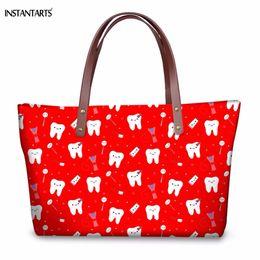 Zipper Teeth Australia - INSTANTARTS Woman Red Large Tote Bags Funny Cartoon Dentist Equipment Teeth Pattern Girls Travel Shoulder Bags Fashion Handbags