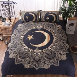 bedding for queen size beds 2019 - AHSNME Moon God Bedding Set Indian Myth Mandala Duvet Cover Queen King Size for Adults Double Bed Black Bohemian Bedspre