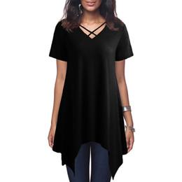 a5fa888712de Sexy Women Asymmetric Oversized T-Shirt Criss Cross V Neck Short Sleeve T  Shirt Solid Loose Casual Tunic Black Summer Tops 2019