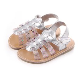 f7cb9dfdbca5 2017 Fashion Design Rainbow PU Leather Flat with Hard Sole Baby Girl Shoes  Sandals For 0-15 Months