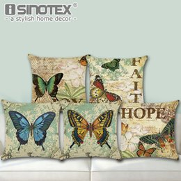 Knit Butterfly Pattern Canada - Cotton Linen Throw Pillow Case Cushion Cover Butterfly Pattern Seat Car Home Sofa Bed Decorative Pillowcase Christmas Gift