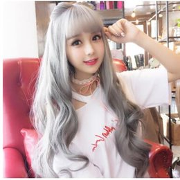 Long brown wavy hair bangs online shopping - Europe and the United States new direct selling lady long hair bangs wig hair sets brown straight long wavy roll goods spot