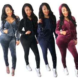 $enCountryForm.capitalKeyWord Canada - 2018 Two Piece Set Women Casual tracksuits Crop Top Pencil Pants Leggings Set Bodycon Slim Suit Winter Vestidos Beading Fashion Women Sets