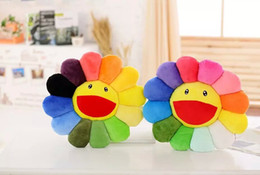 Wholesale Sunflower Plush Toy Sofa Cushion Colorful Big Smile Teeth Sunflower Cushion Diameter 40cm Home Textiles Decorative Pillow