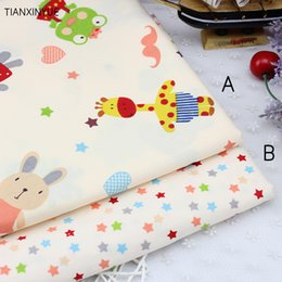 diy fabric animals 2019 - 50*40cm piece Giraffe Elephant Animal Printed Cotton Fabric for Baby Bedding Textile Room Decoration DIY Sewing Patchwor