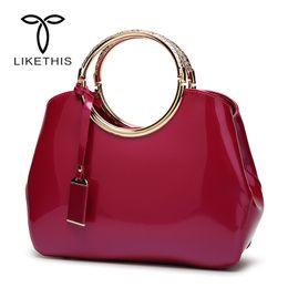 Big Ladies Handbags Australia - Women Glossy Tote Luxury High Quality Crossbody Bag Female PU Leather Handbags Ladies Hot Sale Shoulder Bag Big Messenger Bags