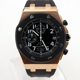 Chinese  Free Shipping Royal Oak Offshore Chronograph Stop Watch Clad 42 Ginza Rose Gold Case Black Dial Leather Strap Quartz Mens Watches Wristwatch manufacturers