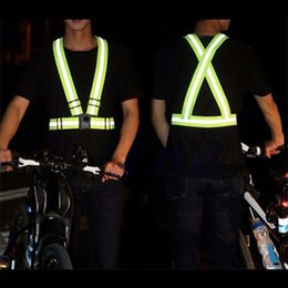Chinese  Autumn Outdoor Running Night Sports Cycling Reflective Back Straps Vest Emergence Safety Warning Bands Adjustable Knit Fabric manufacturers