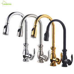 led pull out kitchen taps UK - Antique Crane Kitchen Faucet Brass Polished Gold Silver Swivel Basin Faucet Black Finish Single Handle Pull Out Mixer Water Taps