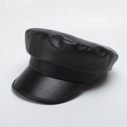 e1af48af522 Autumn And Winter Snapbacks Fashion Black Flexible Leather Hat Designer  Seaman Foldable Creative Baseball Cap For Women 20ta jj