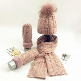 Discount suit scarves men - Winter Knitting Wool Three-piece Solid Color Warm Villus Line Hats Scarf Glove Suit Wome Pink Gray White Fashion Sweet S