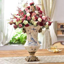 $enCountryForm.capitalKeyWord Australia - European luxury ceramic vase crafts ornaments living room hotel decorations painted gold flower inserted flower florists
