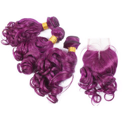 $enCountryForm.capitalKeyWord UK - Purple Color Natural Curly Human Hair Weaves 3pcs With Lace Closure Unprocessed 8A Virgin Purple wavy Hair 3Bundles With Top Closure 4x4