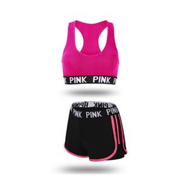 China Newest PINK Tracksuit girl Summer Sport Wear Cotton Yoga Suit Fitness Bra Shorts Gym Top Vest Pants Running Underwear Sets Runner Outfits suppliers