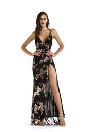 chic formal evening gown UK - New Sequined Long Prom Dress Ladies Black Gold Backless Evening Gowns Party Dresses Chic Split Floor Length Formal Dress LJE1107