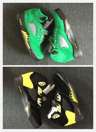 Yellow Glitter Canada - High Quality 2018 New 5 QS Oregon Ducks Mens Basketball Shoes JumpDucks Apple Green Yellow Strike-Black Sport Shoe Breathable Brand Sneakers